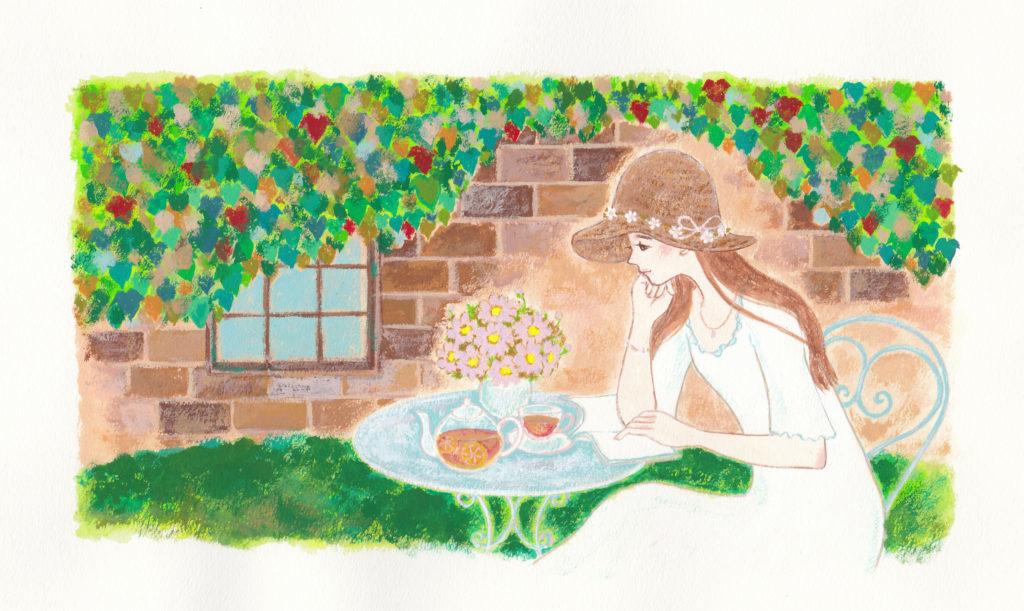 初夏の風景と女性のイラスト